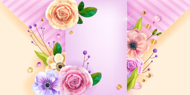Valentines, mothers day love  background, greeting card, floral poster with anemone flower, roses, branches.