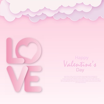 Valentines paper art with clouds and hearts. vector.