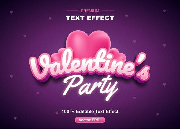 バレンタインパーティー編集可能なテキスト効果