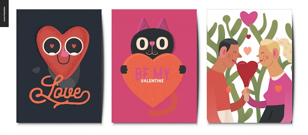 Valentines postcards set