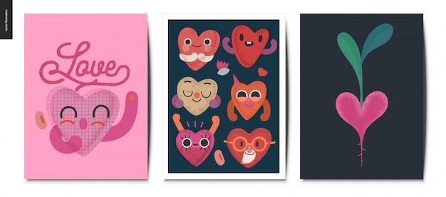 Valentines postcards set