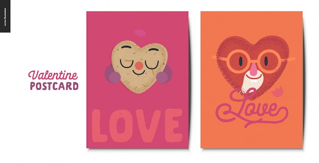 Valentines postcards wiht heart character