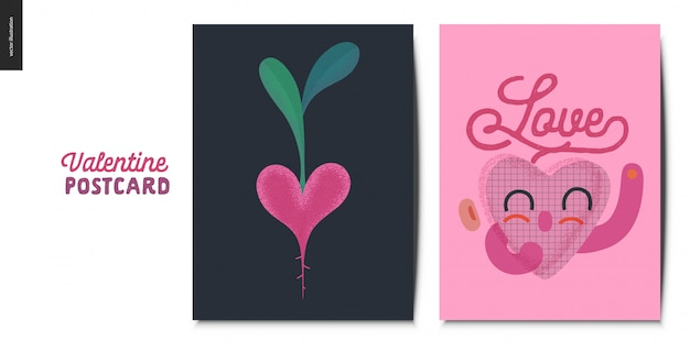 Valentines postcards with heart character