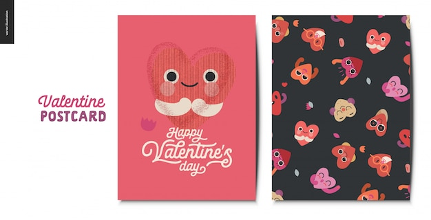 Valentines postcards with hearts character