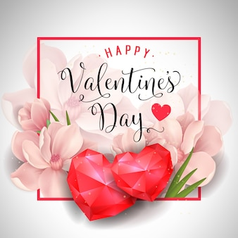 Валентайн плакат с сердечками и цветами