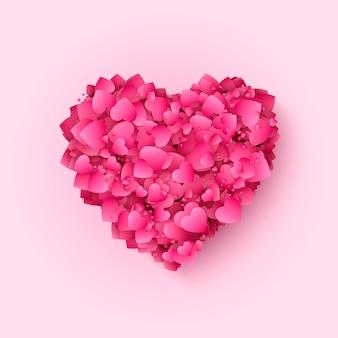 バレンタインの赤とピンクのハート。多くの心を持つ装飾的なロマンチックな背景。バレンタインデーと愛のハートマーク。図。