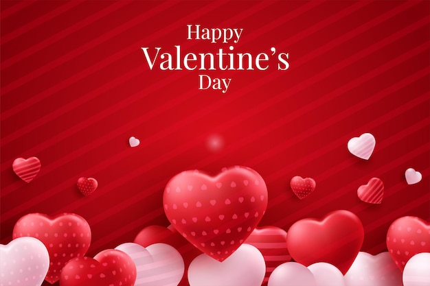발렌타인 레드 하트 풍선 벡터 포스터 디자인