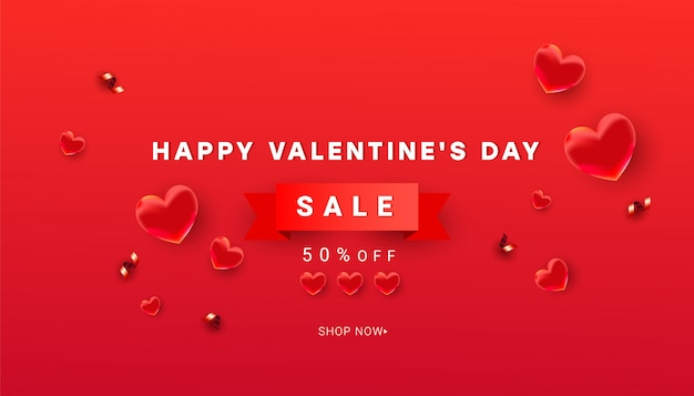 Valentines sale  banner template of heart decor and shiny glitter confetti, red ribbon with text on a red