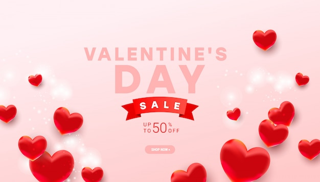 Valentines sale  banner template. realistic decoration 3d heart balloon elements on light pink