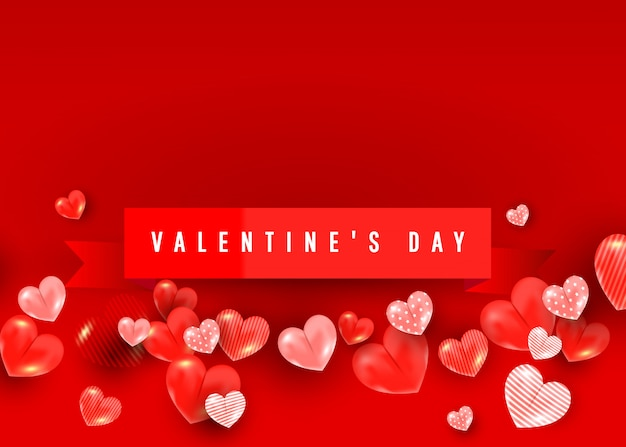 Valentines sale banner template with 3d heart balloon elements.  illustration for website, posters, coupons, promotional material.