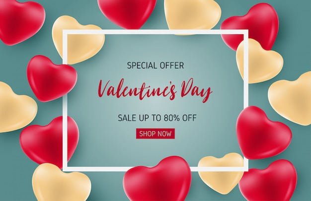 Valentines sale banner template with heart shape balloon