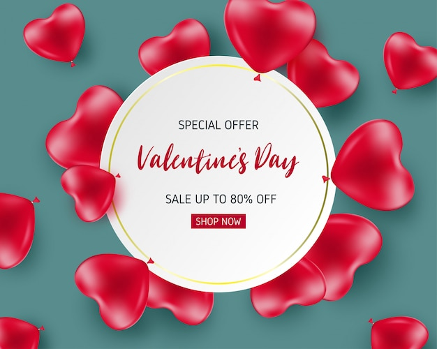 Valentines sale banner template with heart shaped balloon