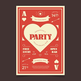 Valentiness day party flyer template retro style