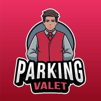 Шаблон логотипа парковщика, изолированные на красном