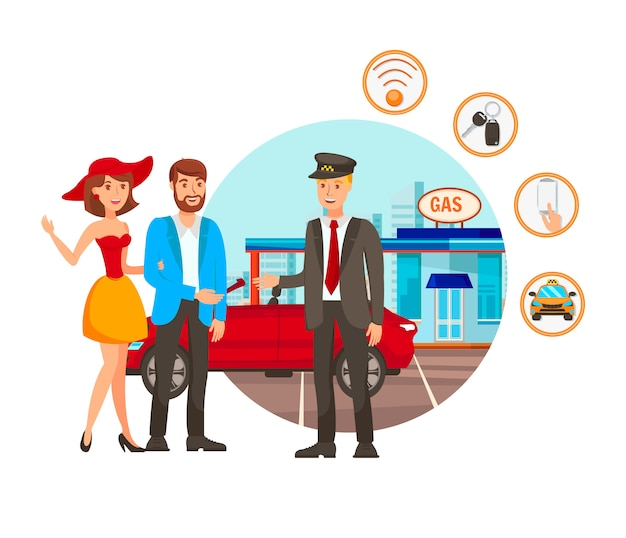 Valet parking service flat vector illustration