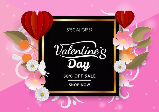 Valetine's day discount with red heart balloon and flower