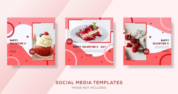 Valetines day cake banner template premium