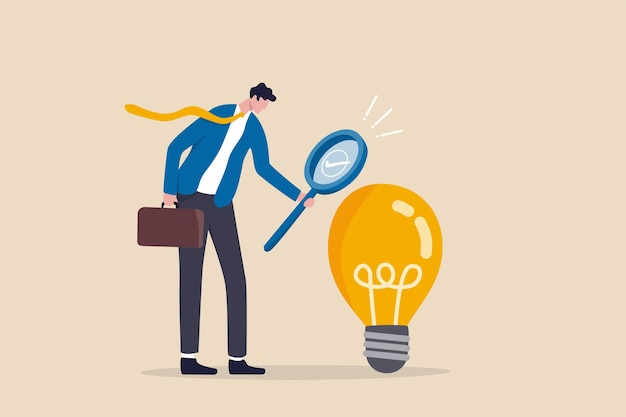 Validate startup idea that have potential to implement and success in real life, analyze and choose best business idea concept, smart businessman verify or validate light bulb idea and make approval.