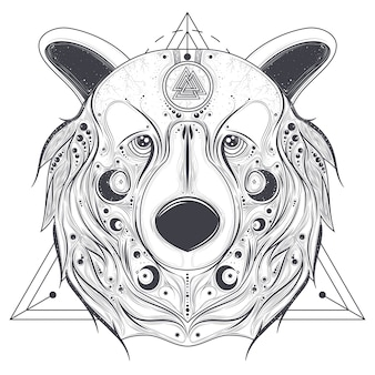 Valknutラインアートベクトルと装飾頭を熊