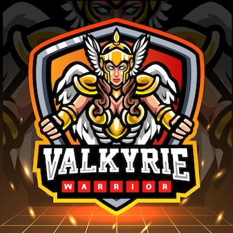 ヴァルキリー戦士のマスコット。 eスポーツのロゴデザイン。