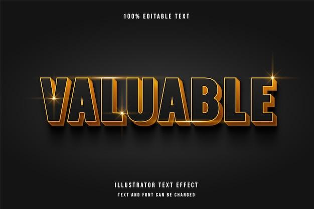 Valuable 3d editable text effect modern grey golden text style