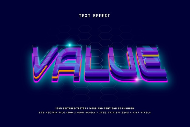 Value 3d text effect on navy background