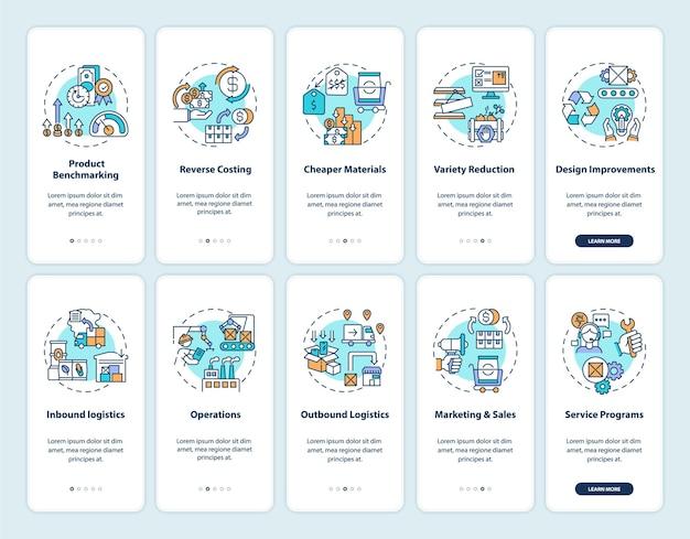 개념이 설정된 가치 사슬 구성 요소 온 보딩 모바일 앱 페이지 화면. 비즈니스 프로세스 최적화 연습 5 단계 그래픽 지침. rgb 색상 삽화가있는 ui 템플릿