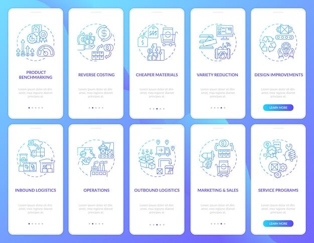 개념이 설정된 가치 사슬 구성 요소 온 보딩 모바일 앱 페이지 화면. 회사 최적화 연습 단계. rgb 색상의 ui 템플릿