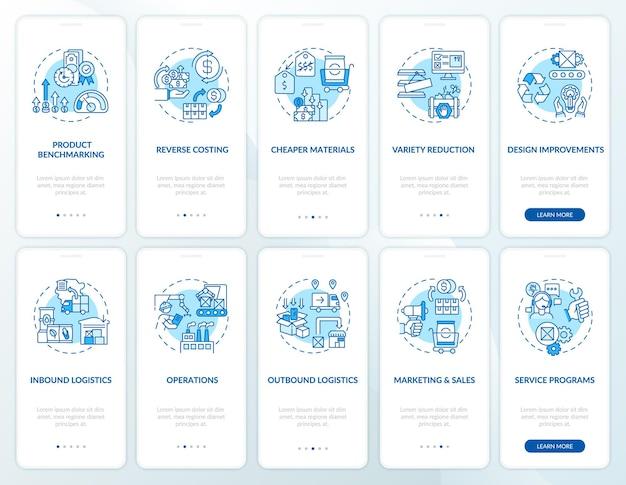 개념이 설정된 가치 사슬 구성 요소 온 보딩 모바일 앱 페이지 화면