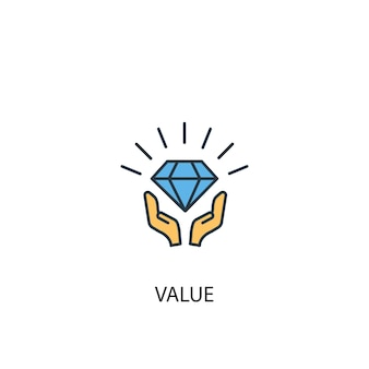 Value concept 2 colored line icon. simple yellow and blue element illustration. value concept outline symbol design