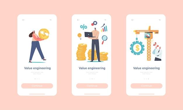 Шаблон встроенного экрана для страницы мобильного приложения value engineering. инженеры-персонажи в касках работают, собирают золотые монеты в стеки, башенный кран тянет огромное снаряжение. мультфильм люди векторные иллюстрации