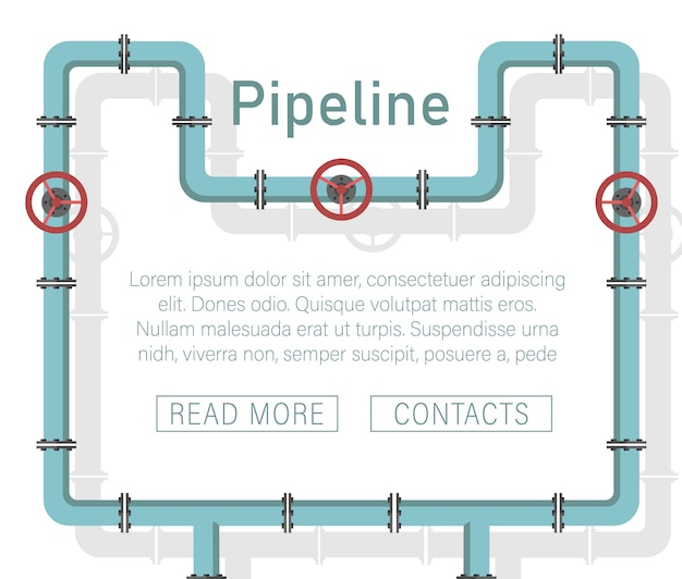 Valve, pipe connectors, meters, pipe details vector set.