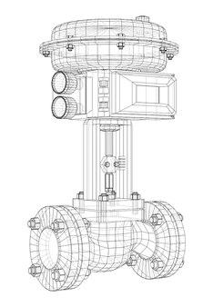 Клапан с автоматическим электроприводом. 3d каркасный стиль