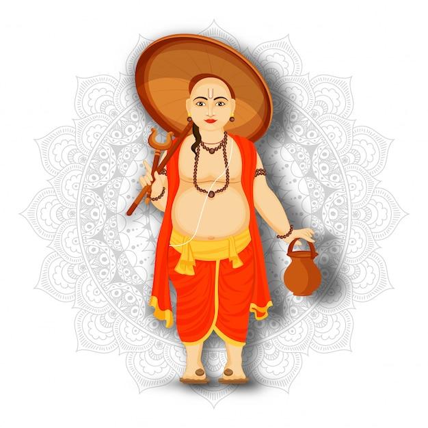 幸せオナム祭のお祝いのためのマンダラパターン背景に傘を保持しているvamanaキャラクターのイラスト。