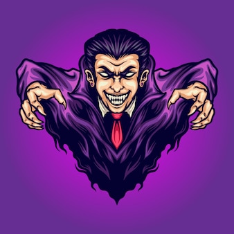 Vampire attack dracula vector illustrations for your work logo, mascot merchandise t-shirt, stickers and label designs, poster, greeting cards advertising business company or brands.