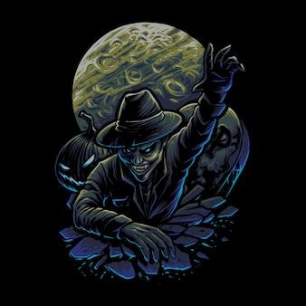 The vampire attack illustration vector
