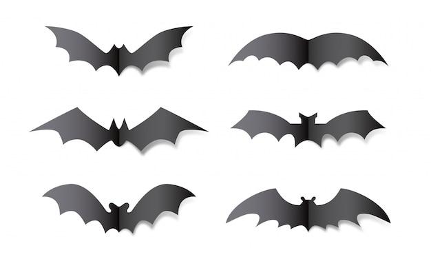 뱀파이어 박쥐 실루엣 종이 공예. 흰색 배경에 할로윈 박쥐 장식