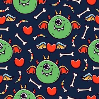 Vampire cartoon doodle seamless pattern design