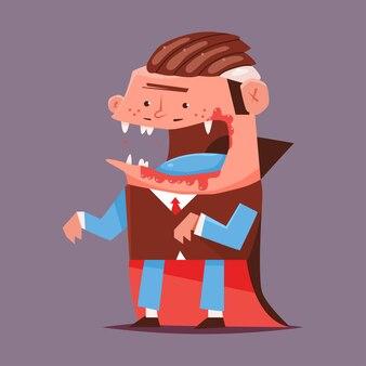 뱀파이어 만화 할로윈 캐릭터 배경에 고립입니다.