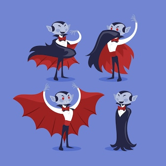 Vampire character collection in flat design