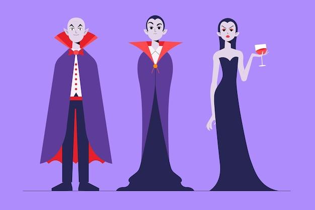Collezione di personaggi vampiri in design piatto