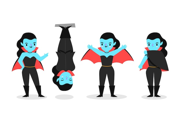 Коллекция персонажей вампиров в плоском дизайне