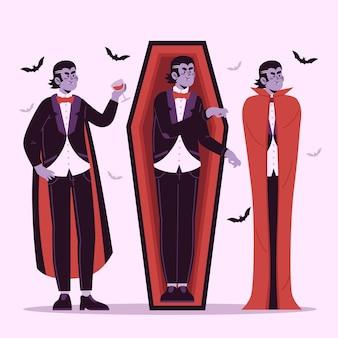 フラットデザインの吸血鬼キャラクターコレクション