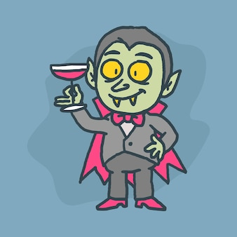 Vampire character holding glass of blood and smiling. hand drawn character. vector illustration