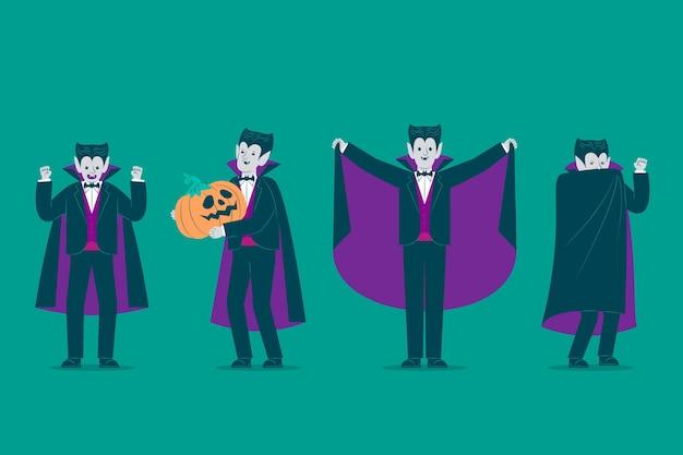 Set di caratteri del vampiro design piatto