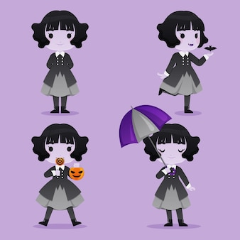 Set di caratteri del vampiro per halloween