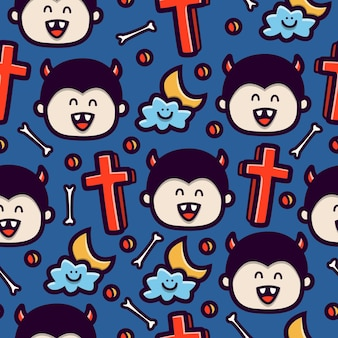 Vampire doodle cartoon seamless pattern design