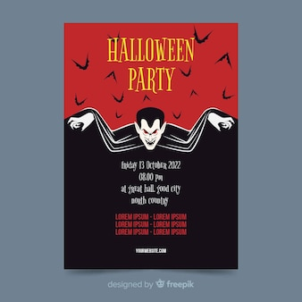 Vampire dracula on flat halloween party poster