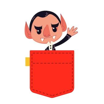 뱀파이어 드라큘라 만화 어린이 스타일의 빨간 주머니 벡터 일러스트 레이 션에서 보이는