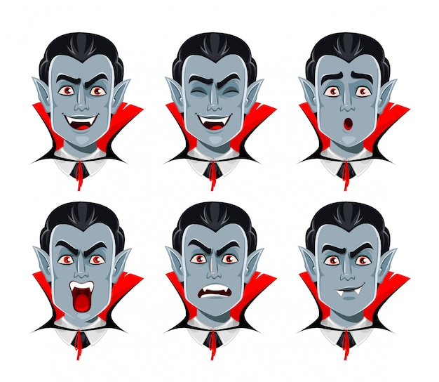 Vampire emotions, various facial expressions